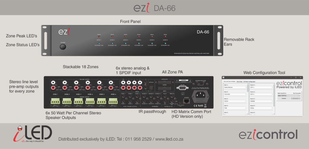 eZi-DA66 – 6×6 Distributed Audio System + HD matrix control.