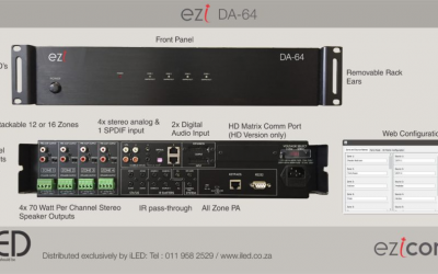 EZI-DA64 – 6×4 DISTRIBUTED AUDIO SYSTEM + HD MATRIX CONTROL.